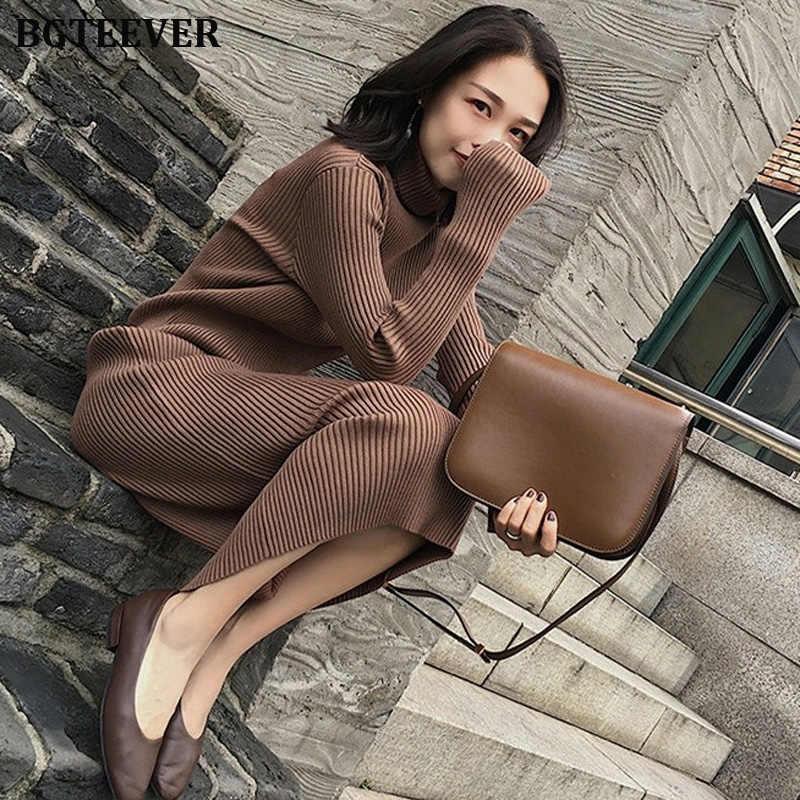 Automne hiver épaissir femmes pull robe col roulé à manches longues tricoté pulls Vestidos femme Midi tricoté robe 2019