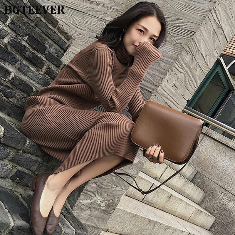 ฤดูใบไม้ร่วงฤดูหนาวผู้หญิง Thicken เสื้อคอเต่าแขนยาวถัก Pullovers Vestidos หญิง Midi ชุดถัก 2019