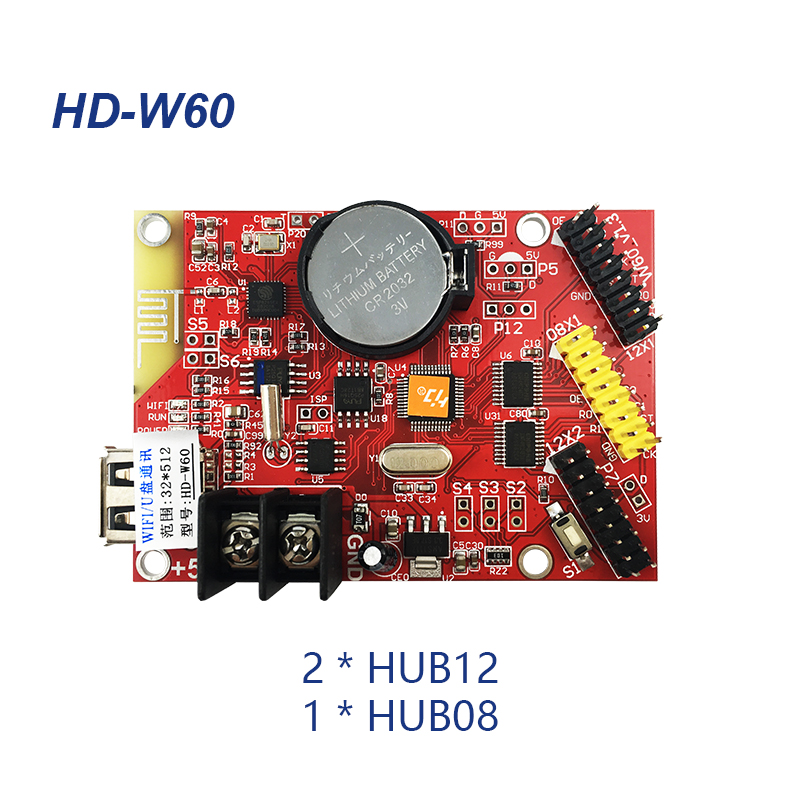 Huidu HD-W60 USB+Wifi Single Color & Dual Color LED Display Control Card 2*HUB12 & 1*HUB08