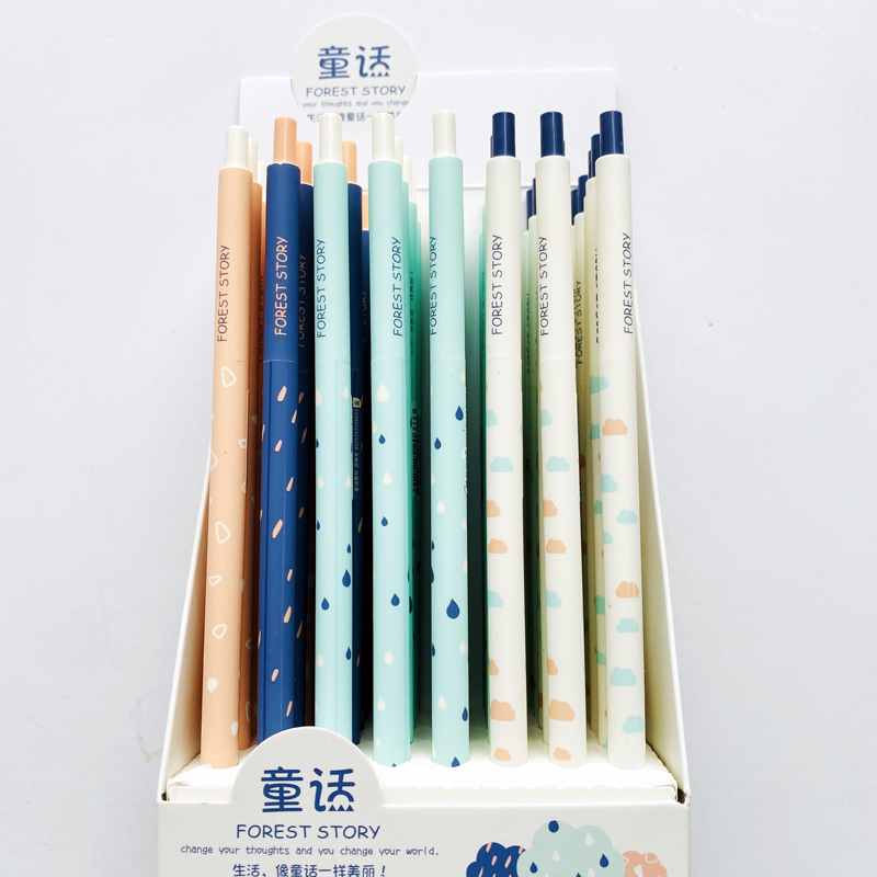 2PCS Cute Forest Story Long Handle Ball Ballpoint Pen Writing Singing Tool Student Stationery School Office Supply 0.5mm Blue