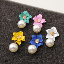 Fashion Korean Romantic Flower Stud Earrings Sweet Red Spherical Imitated Pearl for Women Gift Jewelry