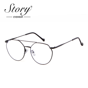 STORY fashion round glasses women men 2019 brand vintage kickoff anti-blue light doulble bridge polygon frame eyewear PS9806T image