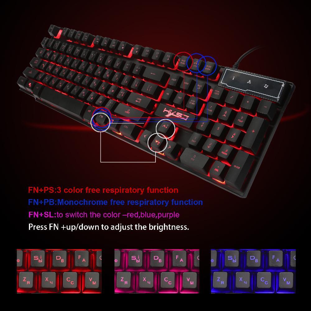 Mechanical Keyboard With R8 Gaming Keyboard Imitation RGB Backlight 104 Keys For English+Russian Gamer