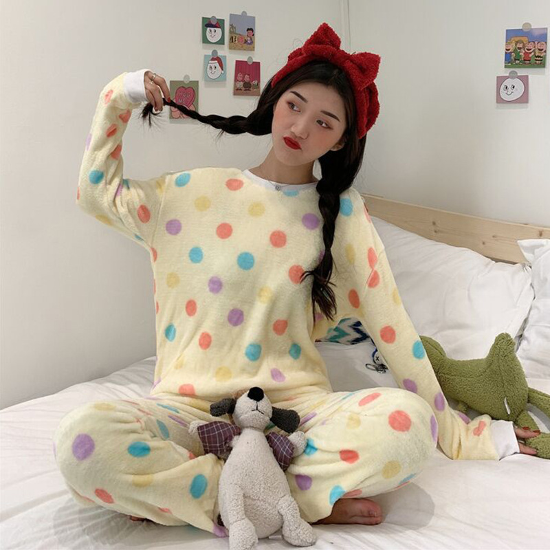Pajamas Women's 2019 New Style Autumn And Winter Korean-style Polka Dot Homewear Set Casual Fluffy Students Warm Two-Piece Set