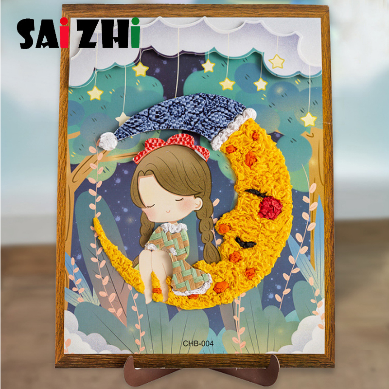 Saizhi Paper Stickers Puzzle Craft Educational Toys For Children Puzzle 3D Painting Sticker Puzzles Toys Baby Handmade Game