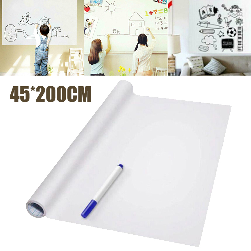 New 45*200cm Magic Whiteboard Sheets Sticker Dry Erasable Paper Plain With Pen Office & School Teaching Supplies