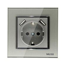 USB Muur Socket Gratis verzending Glas Hot Europese standaard muur adapter 5v 2A connector uitgang grijs color16A 250V FBW 19