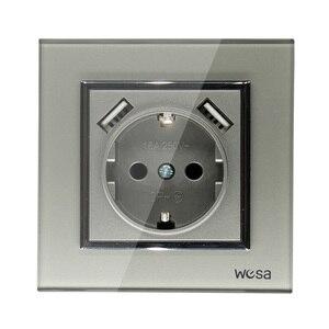 Image 1 - USB Soquete de Parede Frete grátis adaptador de parede padrão Europeu de Vidro Quente color16A 5v 2A saída conector cinza 250V FBW 19