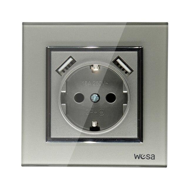 USB Soquete de Parede Frete grátis adaptador de parede padrão Europeu de Vidro Quente color16A 5v 2A saída conector cinza 250V FBW 19