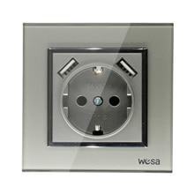 USB duvar soketi ücretsiz kargo cam sıcak avrupa standart duvar adaptörü 5v 2A konnektör çıkışı gri color16A 250V FBW 19