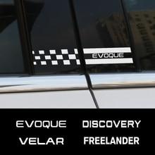Autocollants de style de voiture, 2 pièces, pilier de fenêtre B, accessoires pour Land Rover Discovery 3 4 2 Freelander Evoque Velar