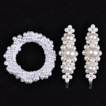 14 Colors Woman Elegant Pearl Hair Ties Beads Girls Scrunchies Rubber Bands Ponytail Holders Hair Accessories Elastic Hair Band 16