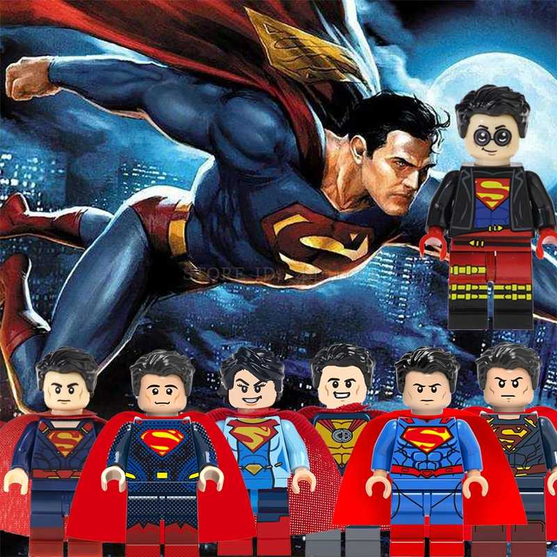 Blok Superman Set Justice League Batman Merah Anak Cyborg Superboy Aquaman Lex Luthor Jor-el Mainan Avengers Angka Di blok Mainan