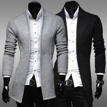 ZOGAA мужская тонкий длинный кардиган свитер весна осень свободного покроя сплошной свитер пальто тонкий твердые мода свитер верхняя одежда мужской пальто