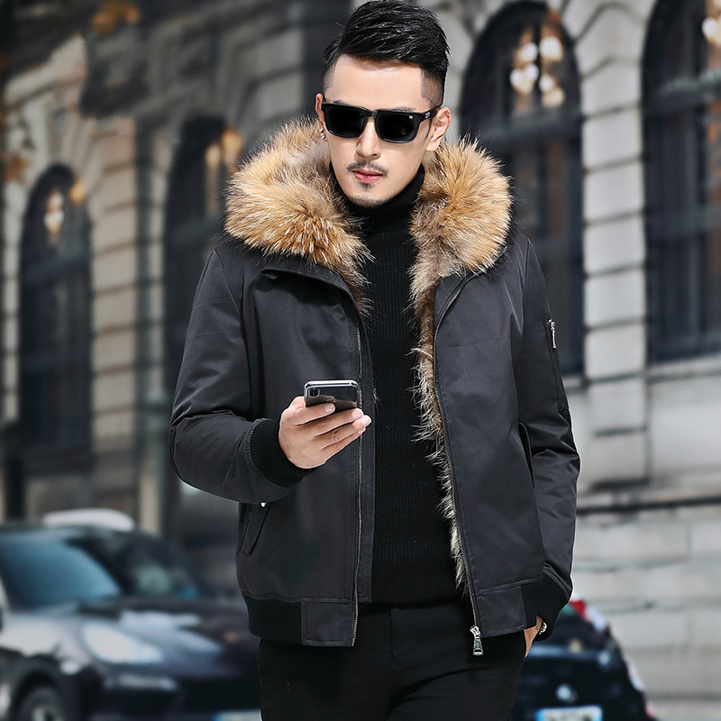 Real Fur Coat Men Parka Short Winter Jacket For Men Natural Raccoon Fur Collar Warm Luxury Coats Abrigo Hombre M18C0544