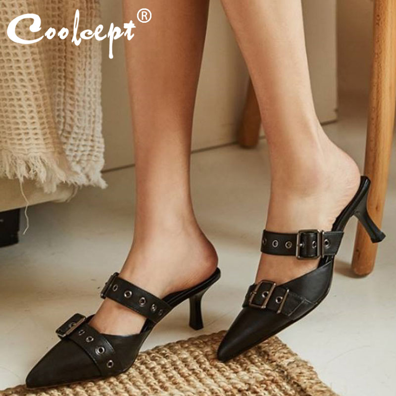 Coolcept Women Sandals Fashion Buckles Pointed Toe Real Leather Shoes Women Stylish Spike Heels Slippers Footwear Size 34-40