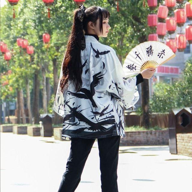 Samurai Crow Cardigan Kimono Traditional Thin Loose Japanese Coat  4