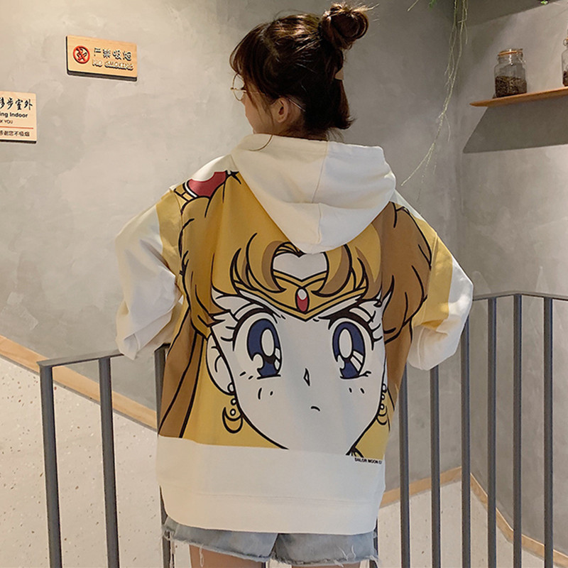 Sailor Moon Harajuku Hoodie 2019 Korean Style Kawaii 90s Cartoon Clothing Fleece Warm Pullovers New Oversized Hooded Streetwear