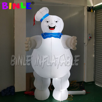 цена на Airblown Halloween decoration 4mH LED giant inflatable stay puft marshmallow man/inflatable ghostbusters model for advertising