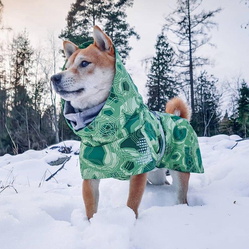 Ветрозащитная теплая одежда для собак для больших собак зимняя водонепроницаемая куртка для собак хлопковый утепленный лыжный костюм пальто для питомцев Одежда для питбуля-1