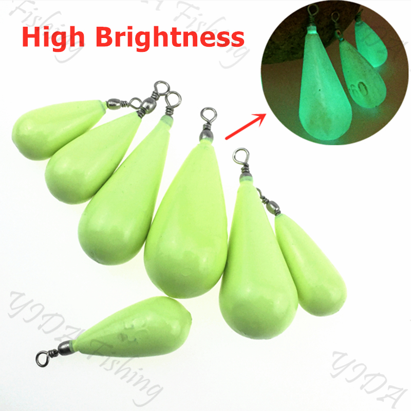 10g/15g/20g/30g/40g/50g/60g/80g/100g Luminous Water Droplets Lead Weights Fluorescent Fishing Lead Sinkers Fishing Accessories