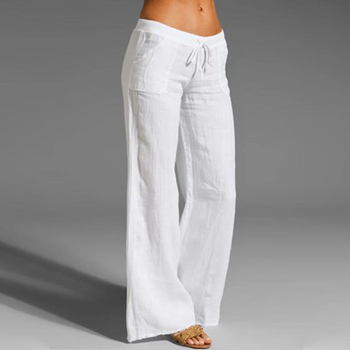 Damskie bawełniane lniane spodnie z wysokim stanem Harem luźne miękkie w pasie białe spodnie na lato niebieskie spodnie na co dzień 2021 dla kobiet tanie i dobre opinie Lovely Ran COTTON Linen Pełna długość Z KIESZENIAMI CN (pochodzenie) Cotton Linen Pants Stałe Szerokie spodnie Mieszkanie