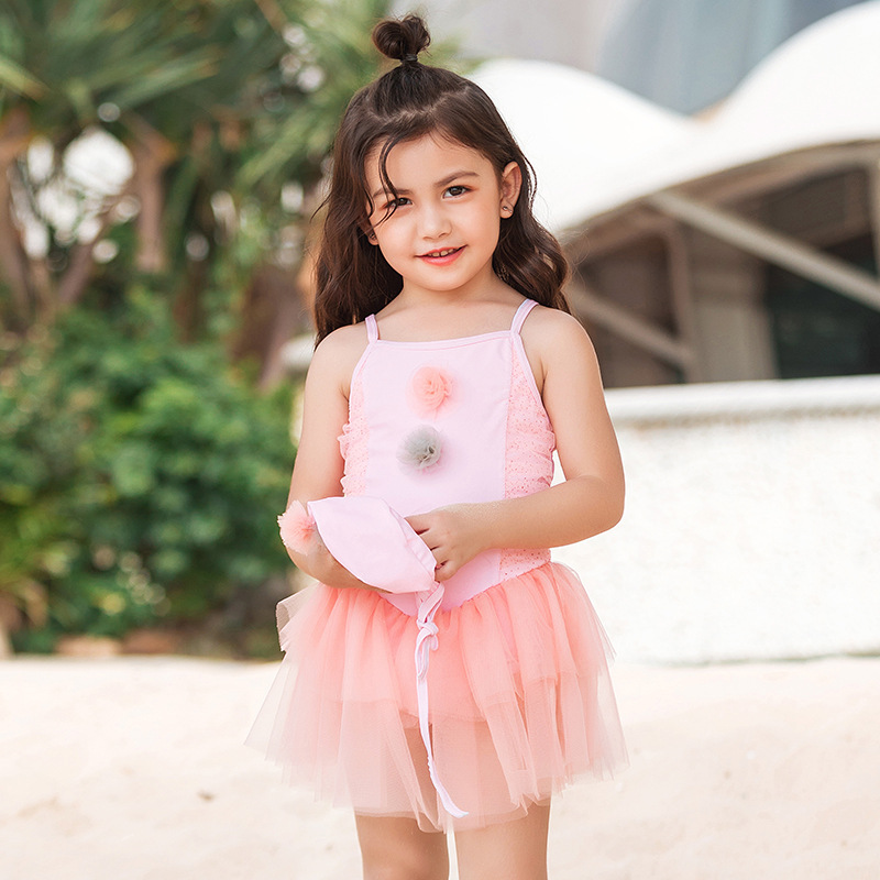 19 New Style Hot Sales One-piece Swimming Suit Send Swimming Cap Sweet Cute Little Princess Camisole Adjustable Girls KID'S Swim