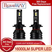Braveway 16000lm led farol lâmpadas h1 h3 h4 h7 h8 h9 h11 hb3 hb4 para carros turbo lâmpadas led 12v luz acessórios do carro