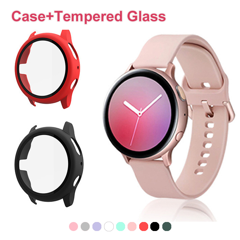 360 full Screen protector Bumper Frame PC matte hard Case for Samsung galaxy watch active 2 40mm 44mm cover Tempered glass film