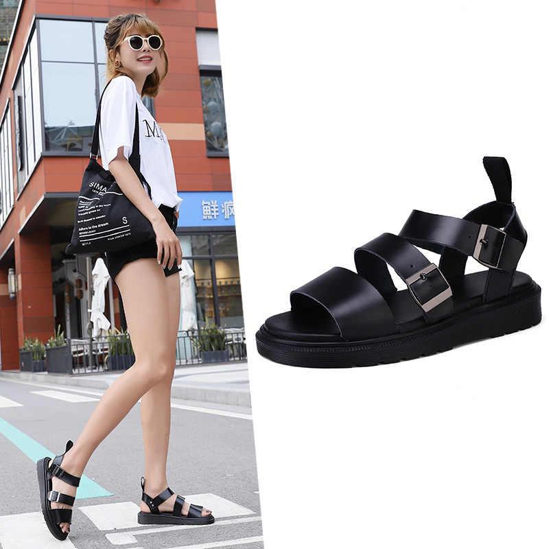 יוניסקס נעלי גברים נשים סנדלי עור גלדיאטור סנדלי נשים קיץ 2019 שטוח גבירותיי סנדלי לילדה פלטפורמת Sandales
