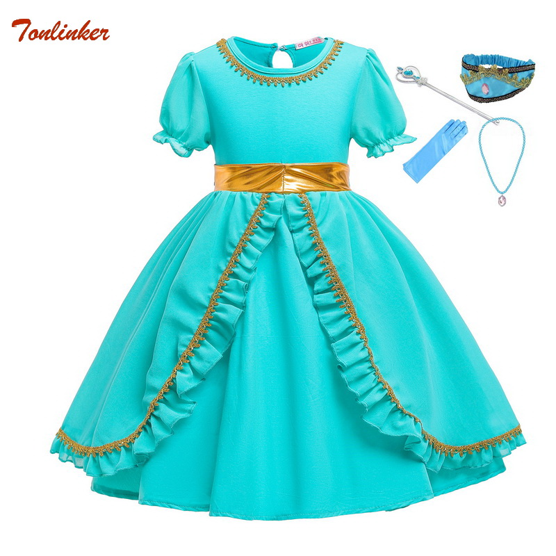 Halloween Christmas Little Girl Princess Jasmine Costumes For Children Party Belly Dance Dress Indian Costume Ruffle Sleeve 1-6T