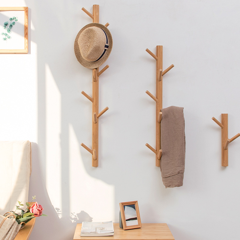 New 8/11 Hooks Coat Rack Wall Solid Wood Wall Hanging Living Room Bedroom Decorative Clothes Rack All Hat Rack Bamboo Furniture