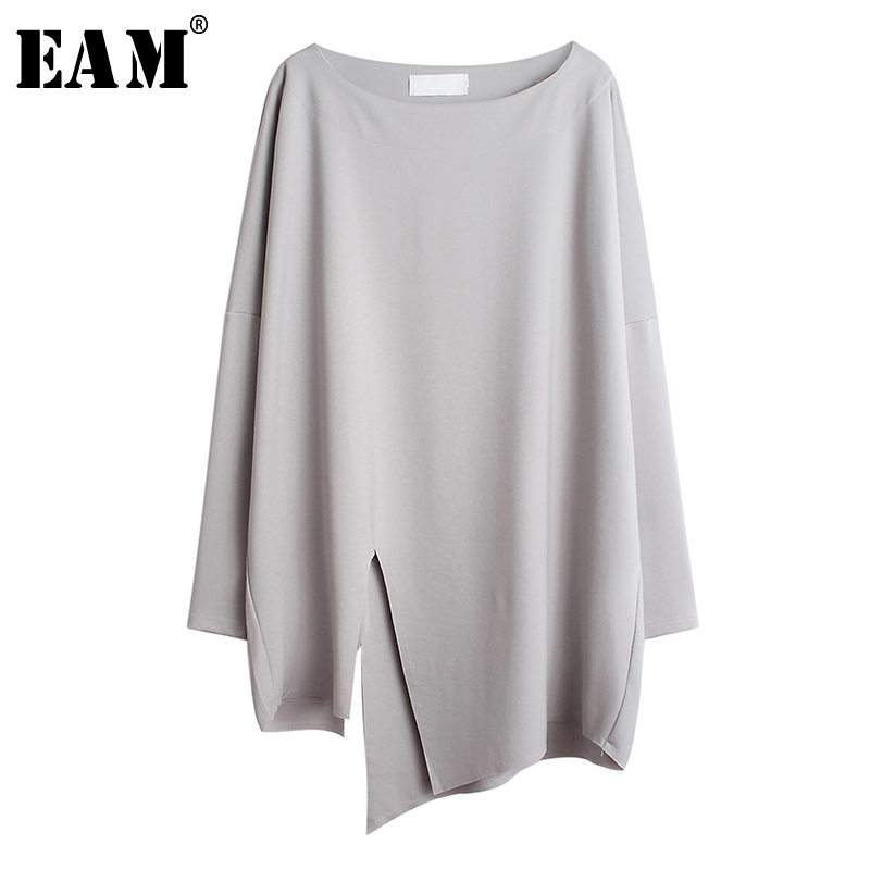 [EAM] Women Gray Asymmetrical Vent Split Big Size T-shirt New Round Neck Long Sleeve  Fashion Tide  Spring Summer 2020 1S684