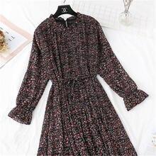 Женское винтажное шифоновое платье Черное длинное плиссированное