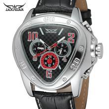 Jaragar Sport Racing Design Geometric Triangle Pilot Genuine Leather Men Mechani