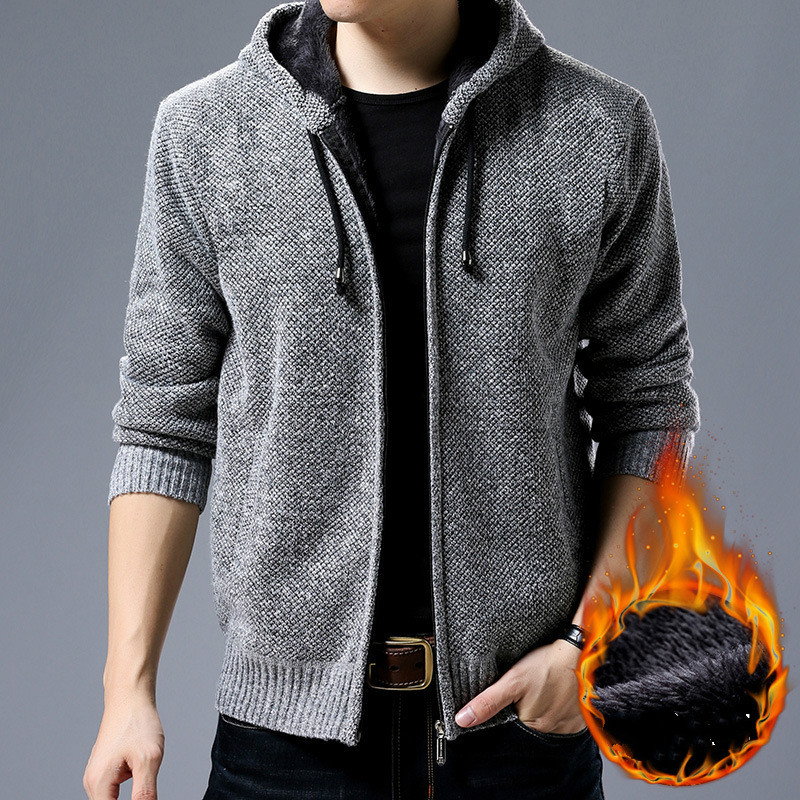 2019 Men Cardigan Sweater Men Vintage Solid Male Hooded Sweater Plus Size Mens Clothing Fashion Streetwear Autumn Warm Overcoat