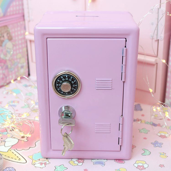 Mini Dormitory Storage Cabinet Modern Ins For Girls Cute Safe Box Decorative Deposit Piggy Bank Metal Iron Home Decor Hucha