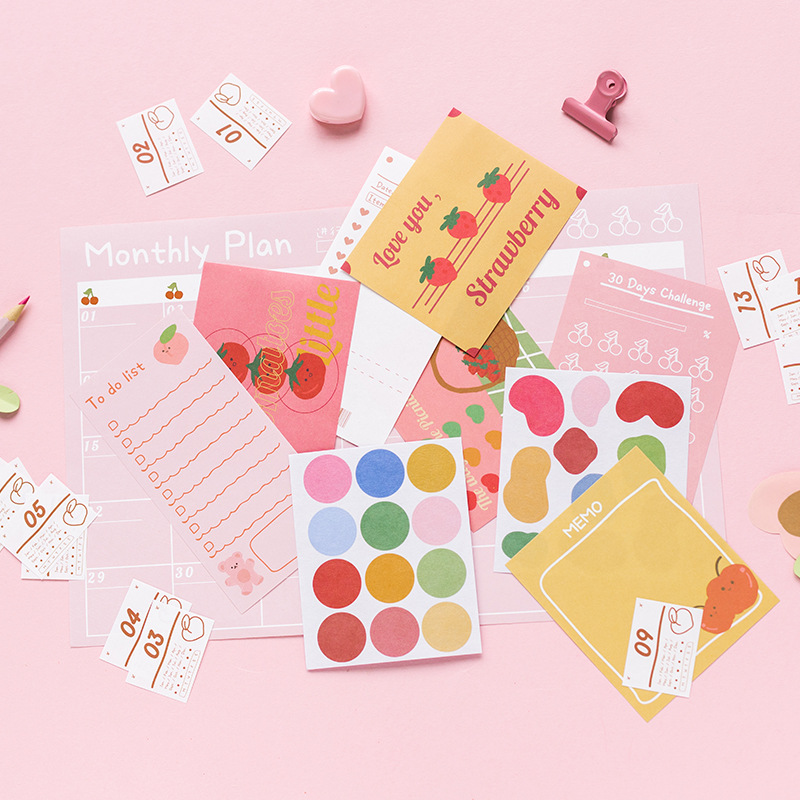 New Creative Cute Month Plan Punch Card Table Wall Sticker Material Sticker Pack Scrapbooking Happy Planner DIY Combination Set