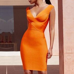 Image 5 - Seamyla 섹시한 드레스 클럽 착용 파티 드레스 2019 새로운 도착 민소매 오렌지 와인 레드 여성 붕대 드레스 Bodycon Vestidos
