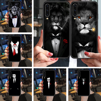 Cool Man Suit Shirt Tie Phone case For Samsung Galaxy A 3 5 7 8 10 20 21 30 40 50 51 70 71 E S 2016 2018 4G black tpu hoesjes image