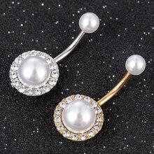New Fashion Women Girl Crystal Rhinestone Tassel Imitation Pearls Dangle Button Belly Ring Bar Body Piercing Jewelry