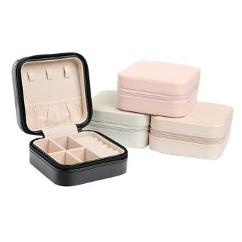 תכשיטי תיבת אחסון נייד ארגונית עגיל מחזיק רוכסן נשים תכשיטי תצוגת נסיעות מקרה 100x100x55mm