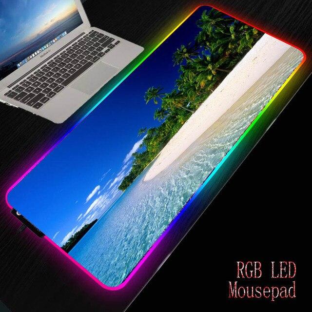 Mairuige пляжный остров пальмовое дерево Пейзаж большой RGB игровой коврик для мыши светодиодный светильник с подсветкой USB Проводная красочная мышка с подсветкой мыши