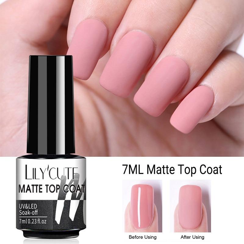 Матовый Гель-лак LILYCUTE 5 мл/7 мл для верхнего покрытия ногтей УФ-лак отмачиваемый растрескивающий удаляющий базовый верхний слой Полупостоян...