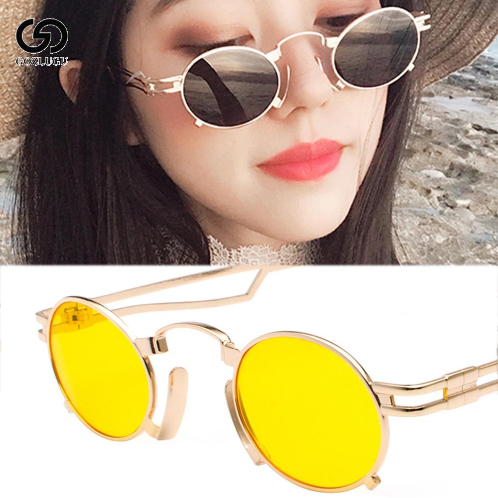 GOZLUGU Men's Oval Sunglasses Men's 2019 Punk Style Red Lady Sunglasses Retro Round Gold Black Metal Frame Premium UV400