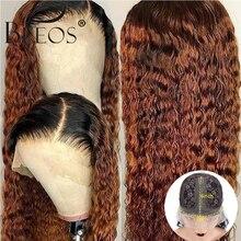 Ombre Honey Blonde 1b/30 Krullend Menselijk Haar Pruik 180% Braziliaanse Remy Preplucked T Deel Lace Pruik Lijmloze Voor zwarte Vrouwen