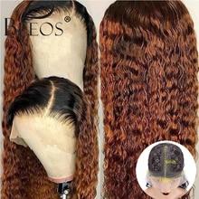 Ombre Honig Blonde 1b/30 Lockiges Menschliches Haar Perücke 180% Brasilianische Remy Preplucked T Teil Spitze Perücke Glueless Für schwarz Frauen