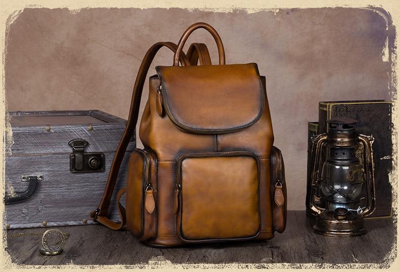 Couro do vintage mochila feminina mochilas de