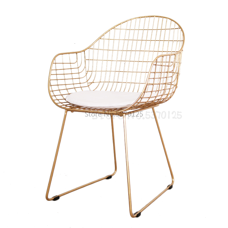 Nordic Ins Net Red Hollow Wire Chair Wrought Iron Modern Minimalist Home Casual Restaurant Living Room Golden Chair