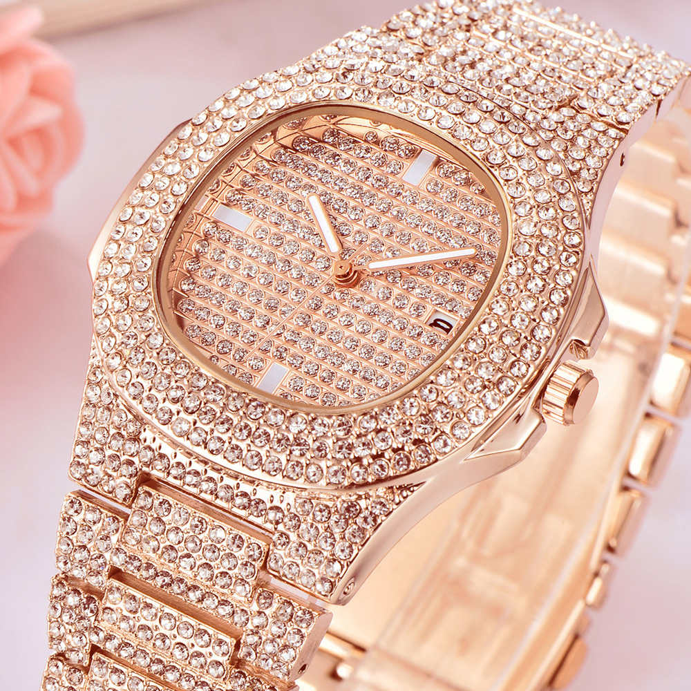 Luxury Women Watch Couple Gifts Iced Out Watches Hip Hop Diamond Men Watch Waterproof Ladies Quartz Clock Big Dial Lovers Gift